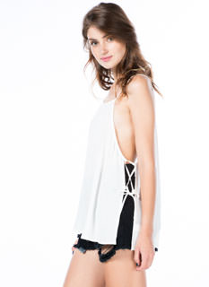 Taking Sides Laced Cami Swing Tank