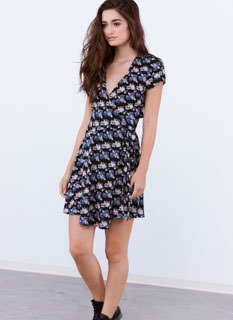 All Tied Up Floral Cut-Out Wrap Dress