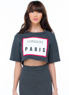 No Sweat London Paris Boxy Cropped Top