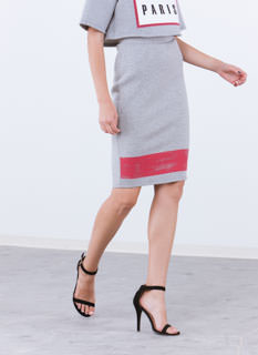 No Sweat Stamped Stripe Pencil Skirt