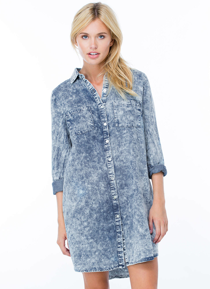 Only 4 U Acid Wash Shirt Dress