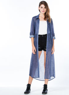 Dazed In Chambray Button-Up Duster