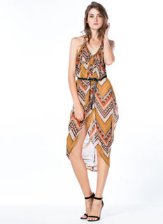 Flow Of Tribal Sheer Draped Dress