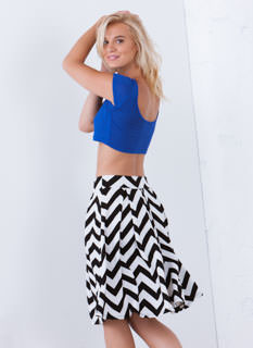 Get In A-Line Chevron Pleated Skirt