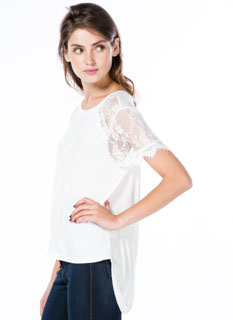 Not So Basic Drape Back Lace Sleeve Tee