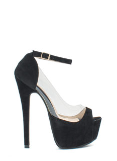 Power Move Velvet Platform Heels