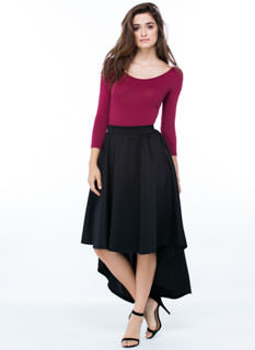 Swing High-Low Midi Skirt