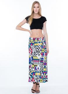 Print Party Ruched Waist Maxi Skirt