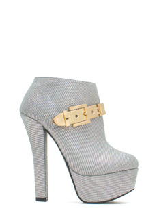 Queen Of Disco Metallic Buckle Booties