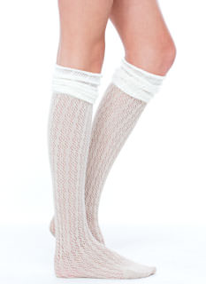 Colorblocked Textured Thigh-High Socks