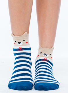 Sailing Bear Striped Ankle Socks