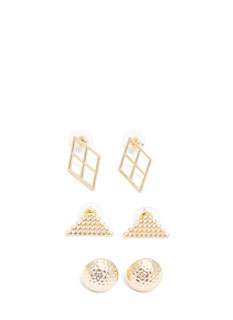 Geo Trio Textured Earring Set