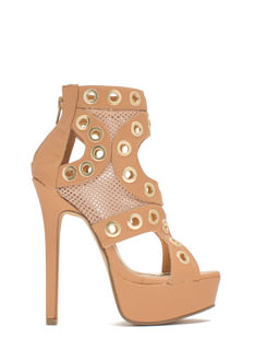 Ring Leader Netted Platform Heels