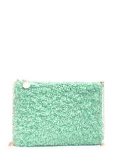 Fuzzy Feel Rectangle Clutch
