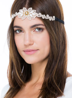 Flapper Girl Pearl 'N Lace Headband