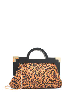 Cat Lady Faux Suede Leopard Clutch