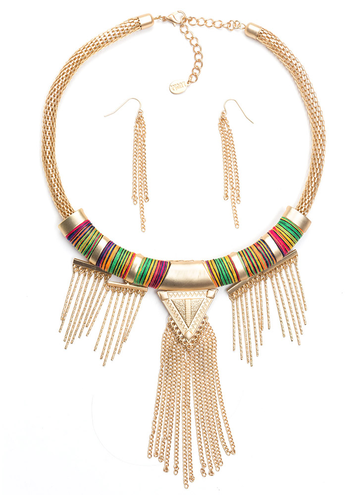 Wrapped Fringe Tribal Necklace Set