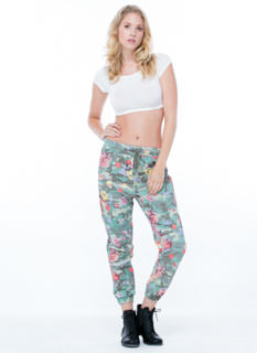 Blending In Camo Floral Cargo Joggers