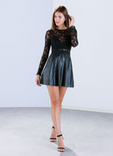 Lace To The Top Faux Leather Dress