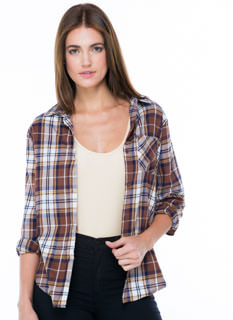 Go Plaid Flannel Button-Up Top