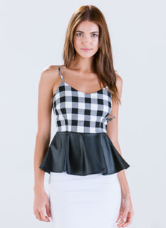 Heard Of Buffalo Plaid Peplum Top