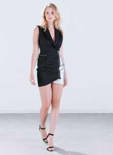 Zipped In Sparkle Tuxedo Dress