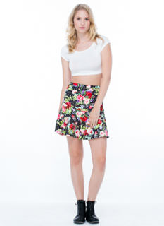 Rosy Disposition Peplum Skirt