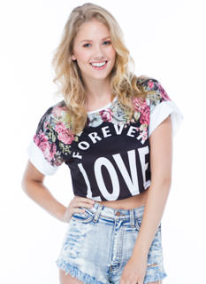 Forever Love Floral Cropped Tee