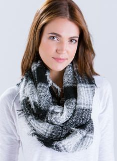 Mad For Plaid Marled Infinity Scarf
