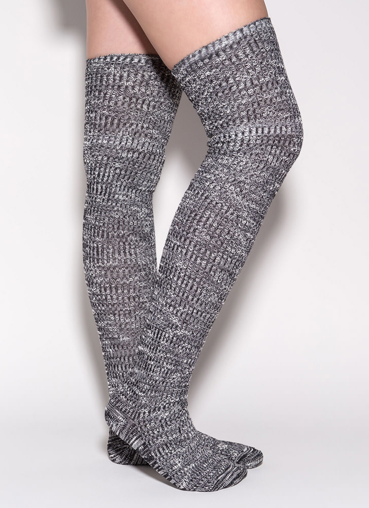 Marled Knit Thigh-High Socks