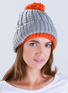 Double Up Knit Contrast Beanie