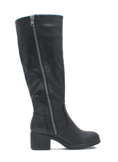 Zip Right Up Faux Leather Boots