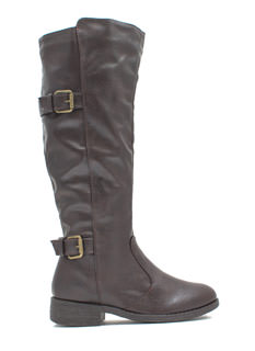 Double It Pebbled Faux Leather Boots
