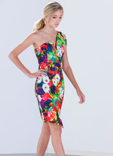Flower Painting One-Shoulder Dress