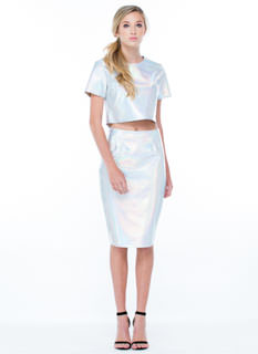 Lustrous Holographic Pencil Skirt