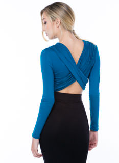 Crisscrossed Ruched Magic Cropped Top