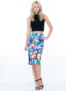 Tuxedo Striped Painted Blooms Skirt