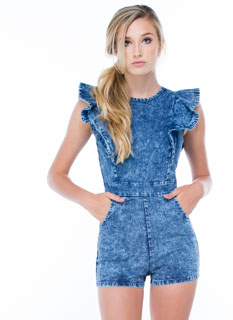 In A Ruffle Acid Wash Denim Romper