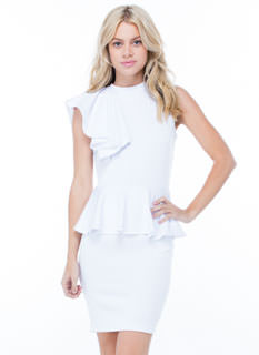 Life Is Ruffle Peplum Bodycon Dress
