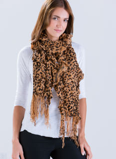 Get Spotted Ruffled Fringe Scarf