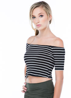 Stripe Tease Off-Shoulder Cropped Top