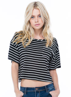Haute Pocket Striped Cropped Top