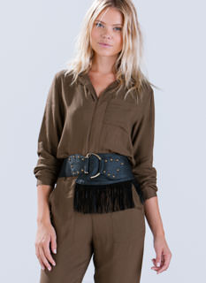 Hooked On Fringe Wide Stretchy Belt