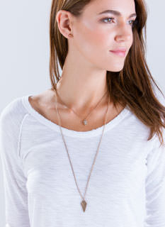 Hammered Diamond Layered Necklace Set