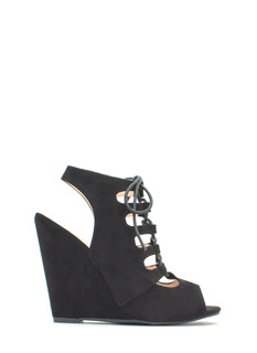 Intersect Lace-Up Faux Suede Wedges