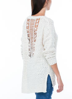New BF Crochet Back Knit Sweater