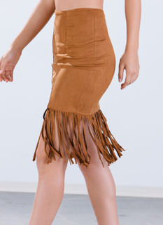 Missed Call Faux Suede Fringe Skirt