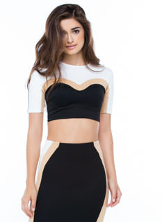 Around The Colorblock Cropped Top