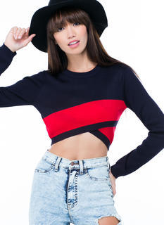 Colorblock Party Cropped Sweater