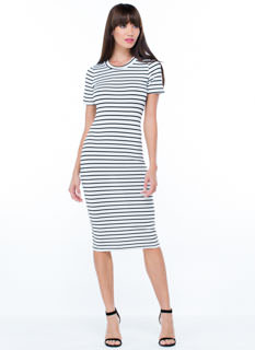 Stripe Up A Convo Cut-Out Midi Dress